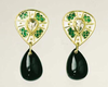 Diamond Green Tourmaline Celtic Earrings by Tony Williams