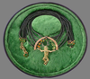 green man pendant tourmaline, 18ct gold, enamel